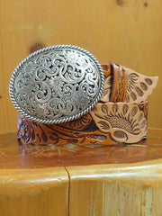 Justin Womens Tan Botanical West USA Leather Belt C21284 -D