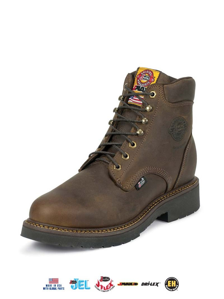"Justin 437 Mens 6"" J-Max Balusters Gaucho Lace-Up Work Boots Brown"