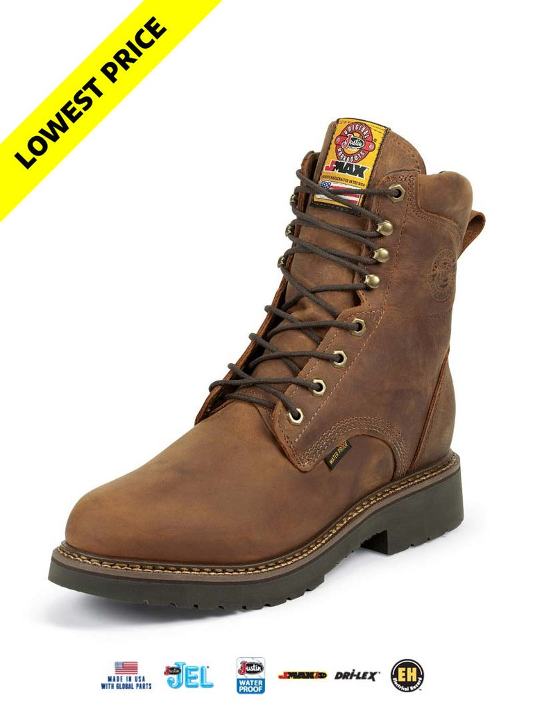 "Justin 457 Mens 8"" Balusters J-Max Waterproof Laced-up Work Boots Brown"