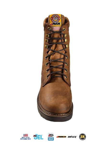 "Justin 457 Mens 8"" Balusters J-Max Waterproof Laced-up Work Boots Brown - D"