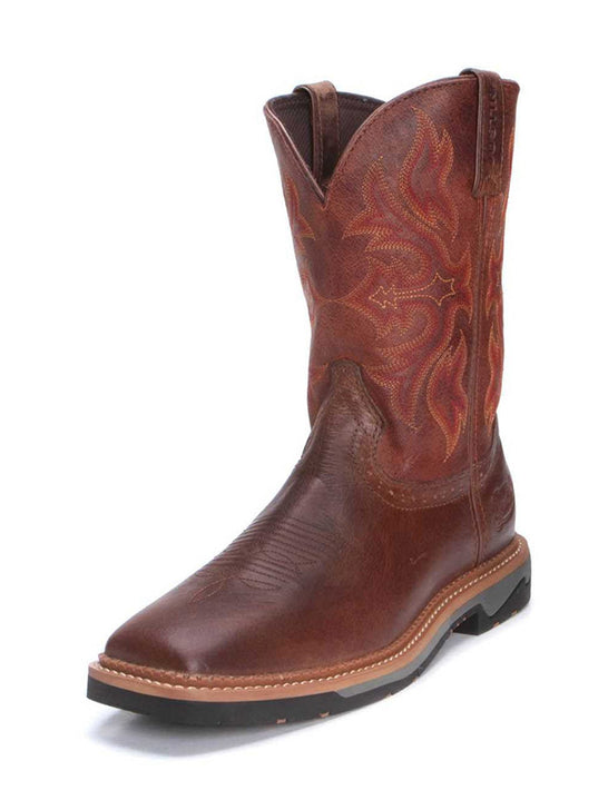Justin WK4100 Mens Stampede Bolt Square Toe Cowboy Boots Tan Side Front