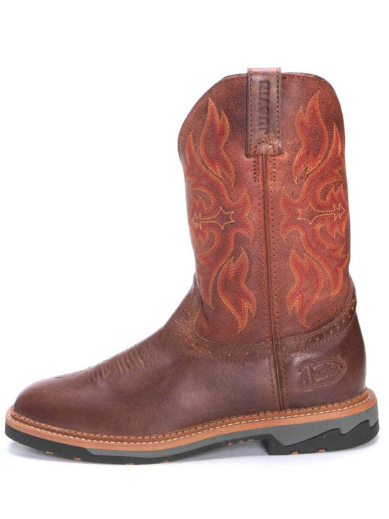 Justin WK4100 Mens Stampede Bolt Square Toe Cowboy Boots Tan Side View
