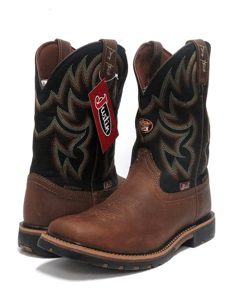 Justin GS9062 Mens Fireman Waterproof Square Toe Western Boots Black Justin Boots