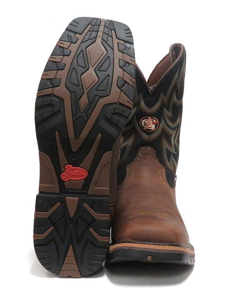 Justin GS9062 Mens Fireman Waterproof Square Toe Western Boots Black Sole and Front