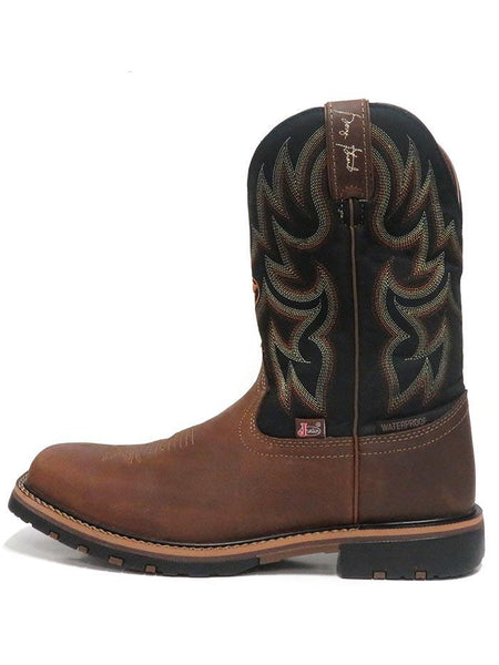 Justin GS9062 Mens Fireman Waterproof Square Toe Western Boots Black Side View