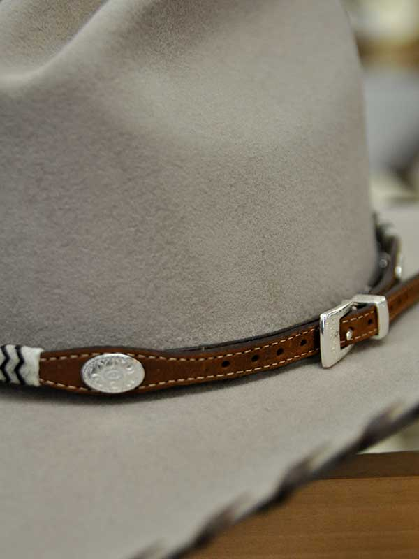 Buckaroo Brown Leather Hat Band With Silver Conchos 05149