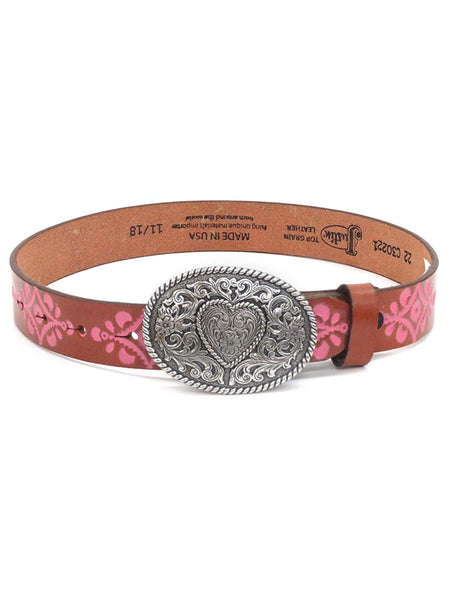 Justin Kids Natural Tan Leather Belt with Heart Buckle C30221 at JC Western Wear, Florida