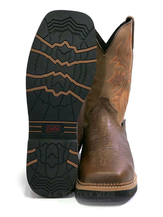 Justin WK4103 Mens Stampede Bolt Buff Composite Toe Work Boot Front View Sole