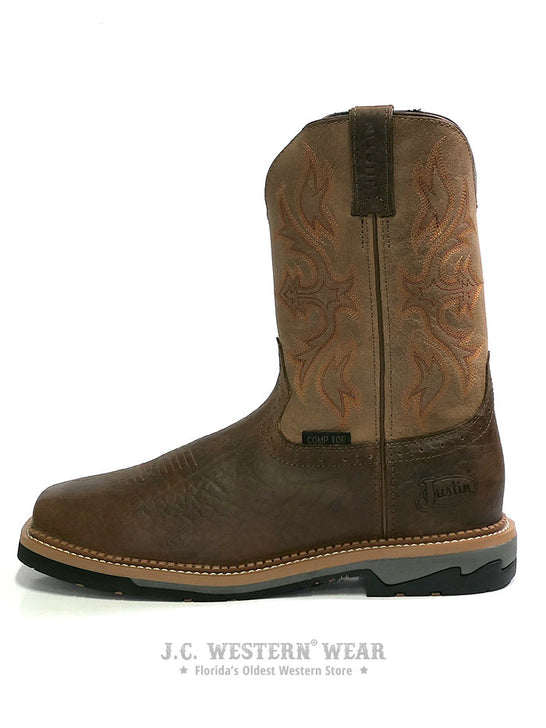 Justin WK4103 Mens Stampede Bolt Buff Composite Toe Work Boot  Side View