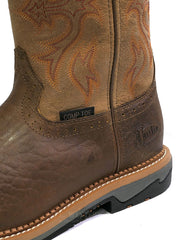 Justin WK4103 Mens Stampede Bolt Buff Composite Toe Work Boot Front View close up