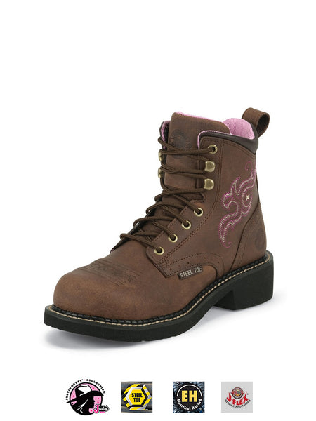 Justin WKL991 Womens Gypsy Steel Toe Work Boot Aged Bark