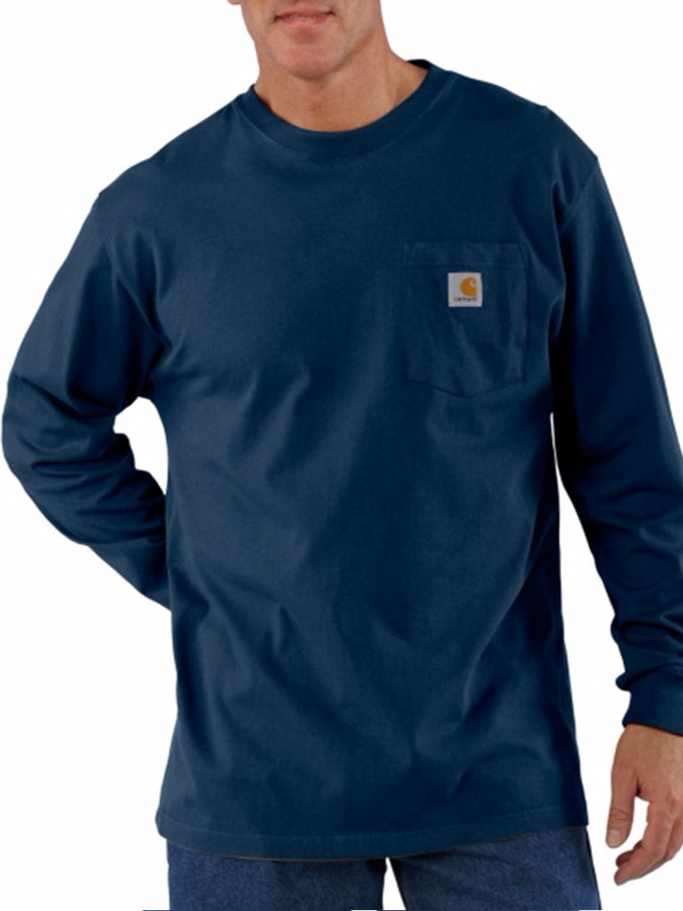 Carhartt k126 Mens Workwear Pocket Long-Sleeve Shirt Navy Carhartt - J.C. Western® Wear