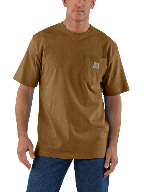 Carhartt K87 Mens Workwear Pocket Short-Sleeve T-shirt Walnut Heather K87-B00