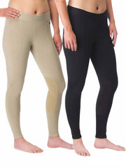 Kerrits 50200 Womens Flow Rise Knee Patch Performance Tight Black or Tan