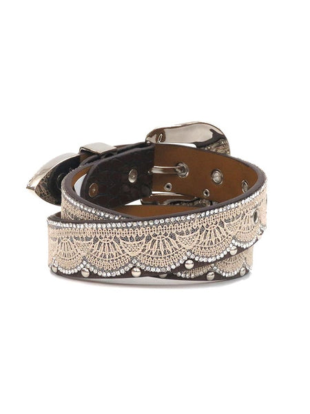 83241bec9 Angel Ranch Girls Crystal Studs Brown Leather Fashion Belt A3652 BRN