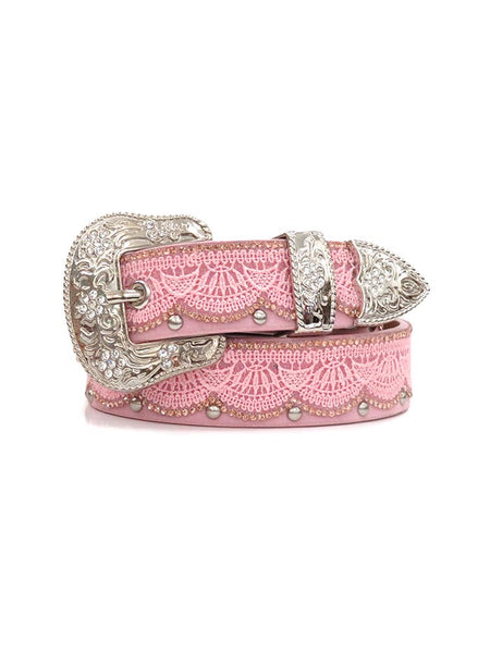 Girls Angel Ranch PINK Crystals Conchos Brown Leather Belt Bling Silver Buckle