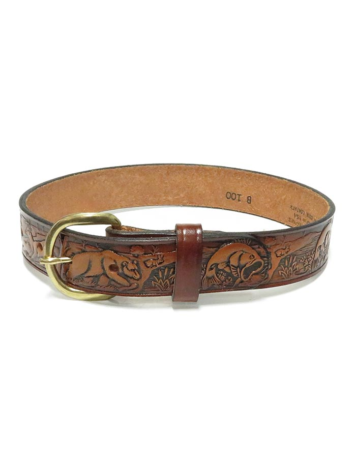 Tony Lama B100 Kids Western Embossed Outdoor Leather Belt Brown Front and Back