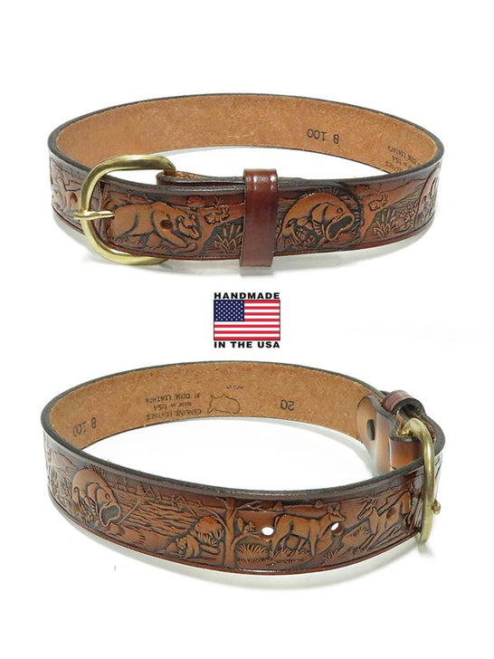 Tony Lama Kids Western Embossed Outdoor Leather Belt B100 front and back