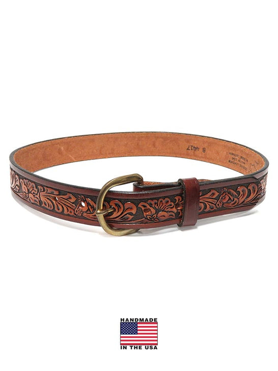 Tony Lama B4417 Kids Western Floral Embossed Leather Belt Brown
