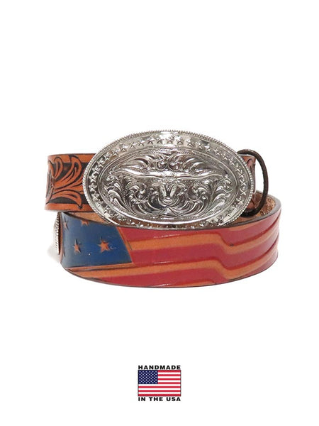 Tony Lama Kids USA Made Americana Leather Belt C60204 front at JC Western Wear, Jupiter, Florida