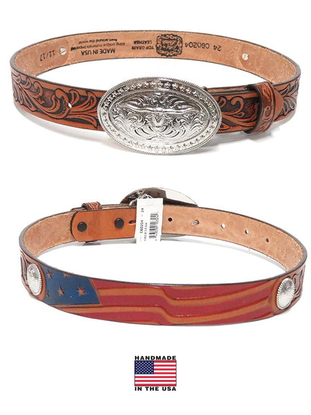 Tony Lama C60204 Kids USA Made Americana Leather Belt Aged Bark front and back at JC Western Wear, Jupiter, Florida