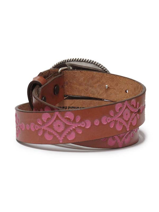 Justin Kids Natural Tan Leather Belt with Heart Buckle C30221 back