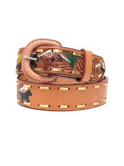 Western Express Kids Western Embossed Lacing Leather Belt XK105 front view
