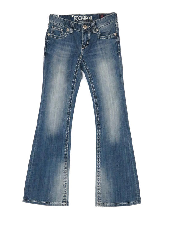 Rock & Roll Cowgirl Girls Vintage Boot Cut Jean G5-1552 Denim Front