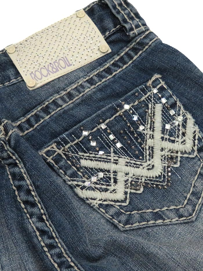 Rock & Roll Cowgirl Girls Vintage Boot Cut Jean G5-1552 Denim Back Pocket