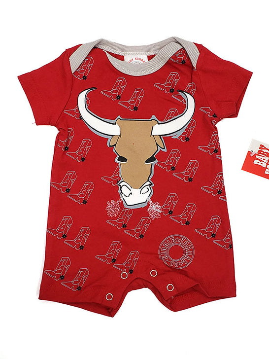 Baby Korral KK-12BR Boys Graphic Bull Onesie Red Front View
