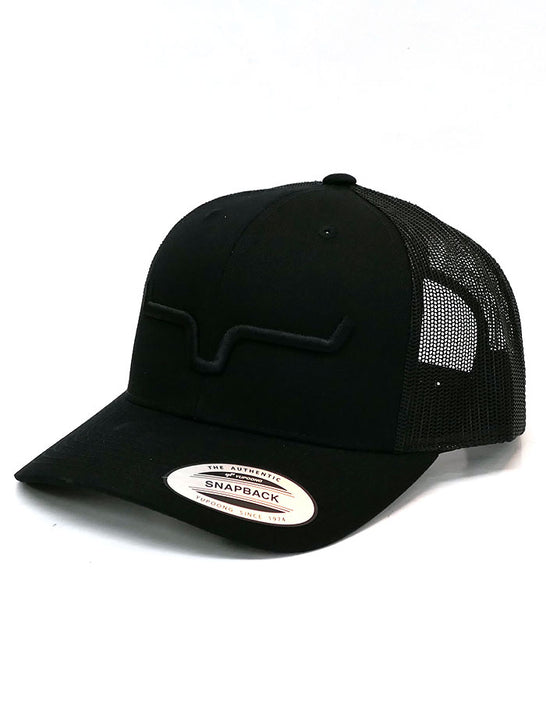 Kimes Ranch Mens Weekly Trucker Mesh Back Cap Black on Display
