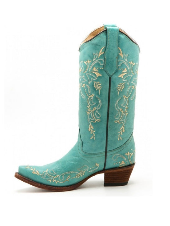 Circle G L5148 Women's Embroidery Snip Toe Boots Turquoise Beige Side View