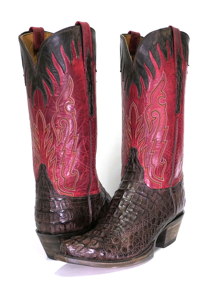 Lucchese L1443.54 Mens Classics Hornback Caiman Skin Snip Toe Boots Pair