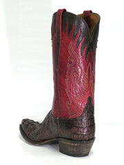 Lucchese L1443.54 Mens Classics Hornback Caiman Skin Snip Toe Boots Back View