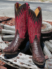 Lucchese L1443.54 Mens Classics Hornback Caiman Skin Snip Toe Boots On the cart wheel