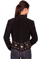 Scully L191-19 Womens Studded Conchos Boar Suede Jacket Black