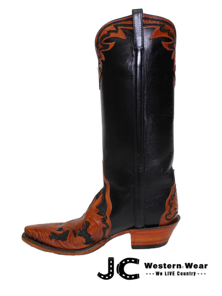 c50cf350dc2 Women's Lucchese Classic Mahogany and Black Hand Tooled Boots L4656.54