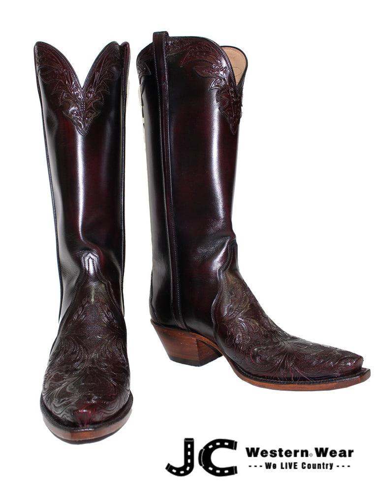 Women's Lucchese Classic Black Cherry Hand Tooled Boots L4664.54 Lucchese - J.C. Western® Wear