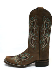 Circle G L5636 Womens Embroidery Square Toe Cowgirl Boot Straw Brown Side View