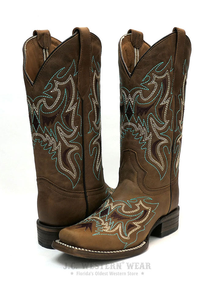 Circle G L5636 Womens Embroidery Square Toe Cowgirl Boot Straw Brown Pair at JC Western Wear