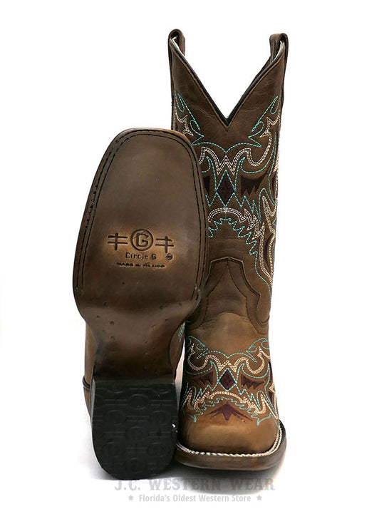 Circle G L5636 Womens Embroidery Square Toe Cowgirl Boot Straw Brown Front and Sole