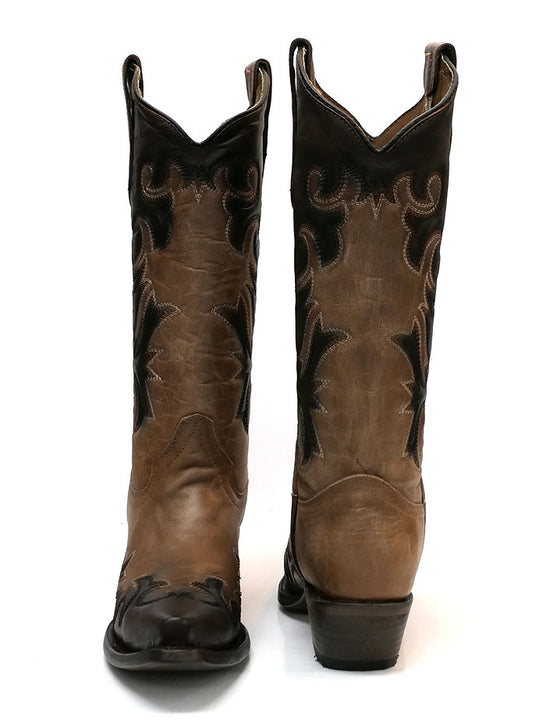 Circle G L5665 Womens Embroidery Snip Toe Cowgirl Boot Sheldon Chocolate front and back