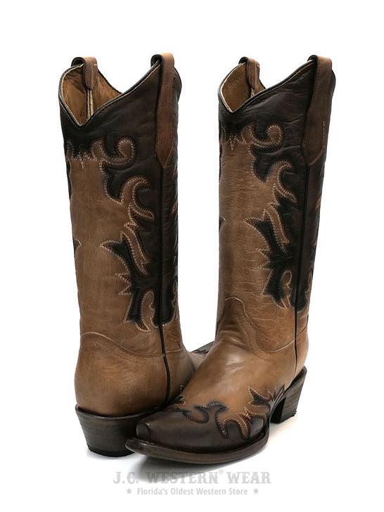 Circle G L5665 Womens Embroidery Snip Toe Cowgirl Boot Sheldon Chocolate  at JC Western Wear