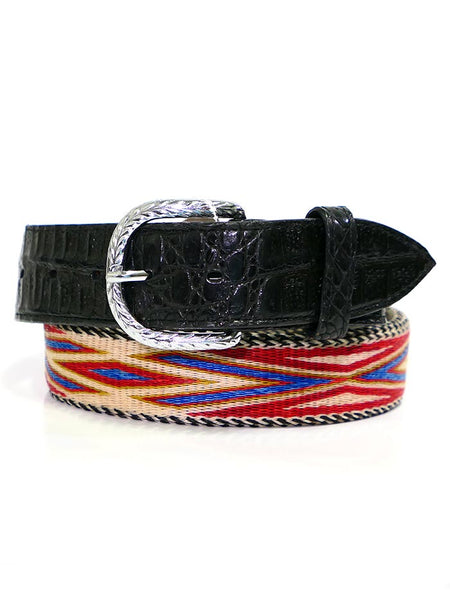 Lucchese LCB22 Gator Billet Genuine Horsehair Braided Western Belt Multi-Color Pic 1
