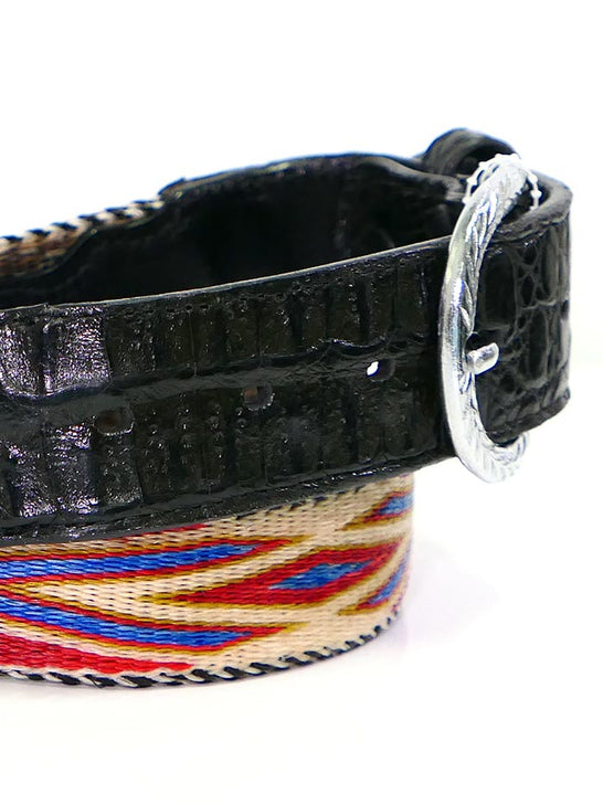 Lucchese LCB22 Gator Billet Genuine Horsehair Braided Western Belt Multi-Color JC Western