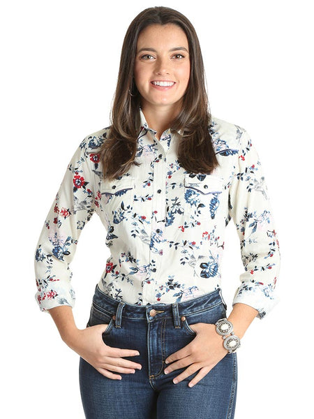 Wrangler Ladies Ivory Floral Snap Long Sleeve Western Shirt LW3116M FRONT