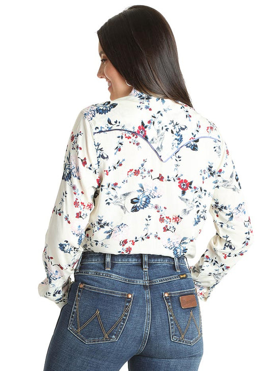 Wrangler Ladies Ivory Floral Snap Long Sleeve Western Shirt LW3116M BACK