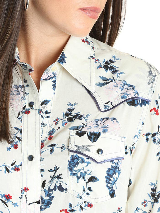 Wrangler Ladies Ivory Floral Snap Long Sleeve Western Shirt LW3116M POCKET