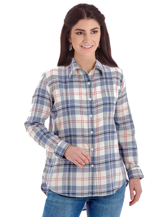 Wrangler LW8034M Womens Flannel LS Straight Back Yoke Ivory Blue