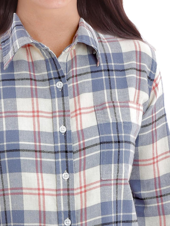 Wrangler LW8034M Womens Flannel LS Straight Back Yoke Ivory Blue pocket